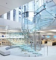 Glass staircase at apple store